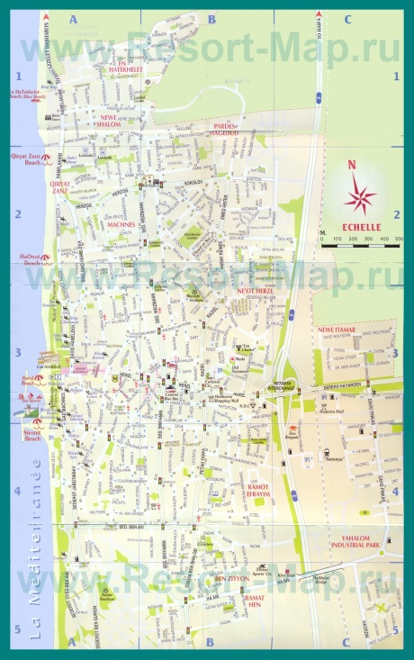 Подробная карта курорта Нетания