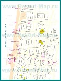 Туристическая карта Нетании с отелями