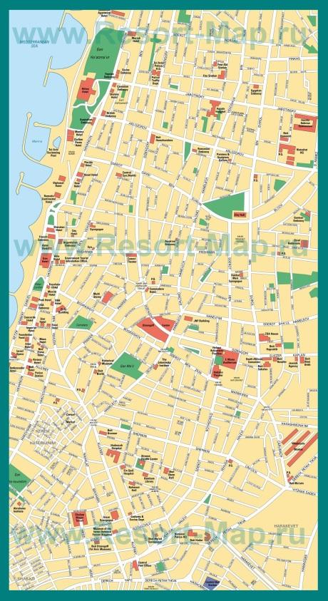 Карта центра города Тель-Авив