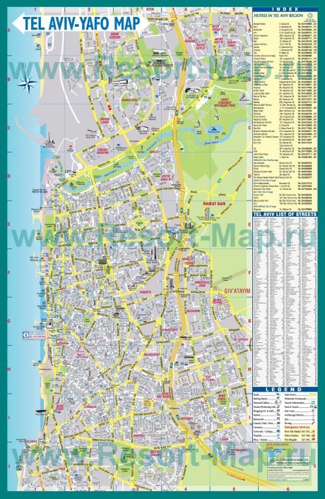 Подробная карта Тель-Авива с отелями
