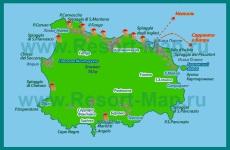 Туристическая карта острова �скья с курортами