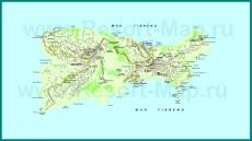 Подробная карта острова Капри
