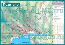 Подробная карта Позитано с отелями и достопримечательностями