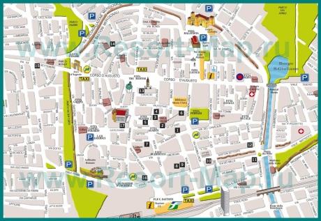 Карта центра Римини с достопримечательностями