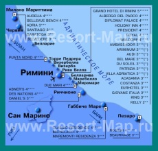 Карта отелей Римини