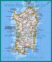 Карта острова Сардиния с курортами