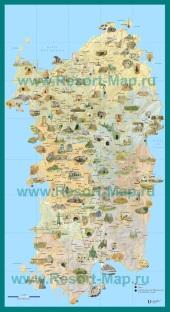 Туристическая карта острова Сардиния