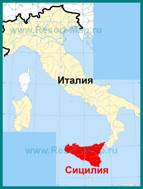 Сицилия на карте �талии