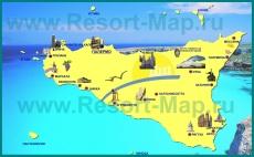 Туристическая карта острова Сицилия с курортами