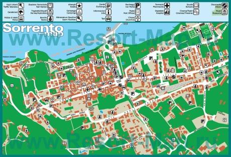 Карта Сорренто с отелями