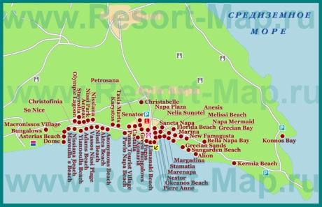 Карта отелей Айя-Напы