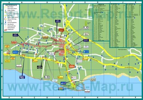 Подробная карта города Айя-Напа с отелями