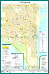 Подробная карта города Ларнака с достопримечательностями