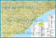 Подробная карта курорта Лимассол с достопримечательностями