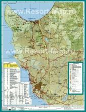 Карта окрестностей курорта Пафос с достопримечательностями
