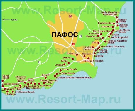Карта отелей пафоса