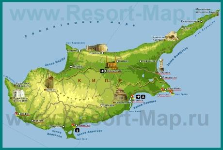 Карта кипра с курортами на русском