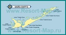 Туристическая карта Кайо-Ларго с пляжами