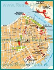 Карта центра города Гавана с достопримечательностями