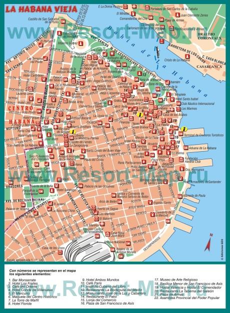 Карта Гаваны с достопримечательностями