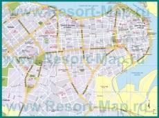 Подробная карта Гаваны с отелями