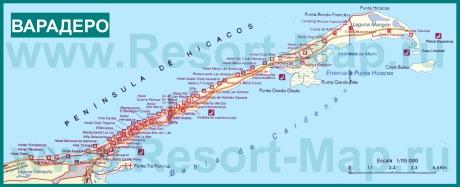 Карта курорта Варадеро с отелями