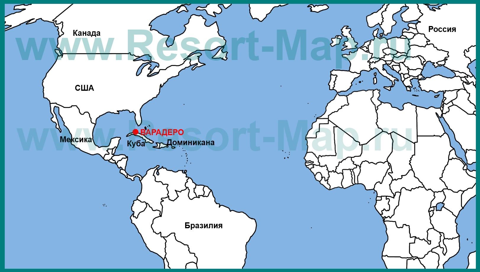 Karte Kuba Varadero.варадеро на карте кубы