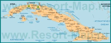 Курорты Кубы на карте