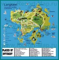 Карта Лангкави с достопримечательностями