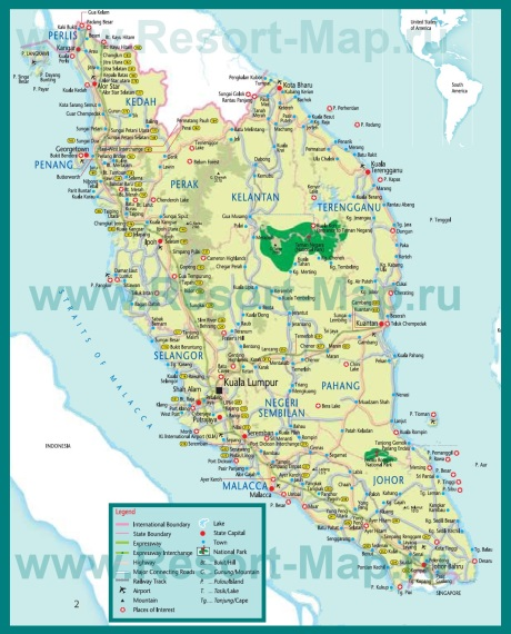 Карта Малакки с достопримечательностями