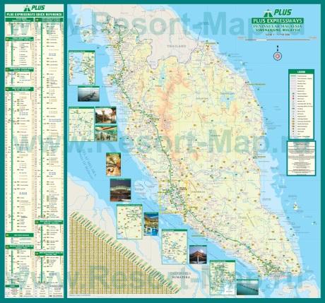 Подробная карта полуострова Малакка