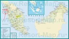 Остров Пенанг на карте Малайзии