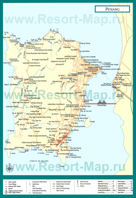 Подробная карта острова Пенанг