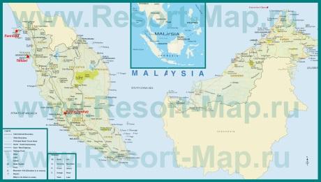 Курорты Малайзии на карте