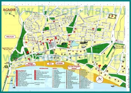 Подробная карта курорта Агадир