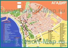 Туристическая карта Агадира с отелями