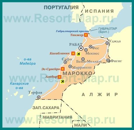 Курорты Марокко на карте