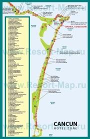 Карта Канкуна с отелями