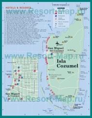 Подробная карта Косумеля с отелями