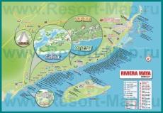Подробная карта курорта Ривьера-Майя