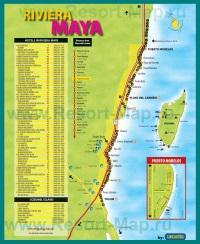 Туристическая карта Ривьера-Майи с отелями