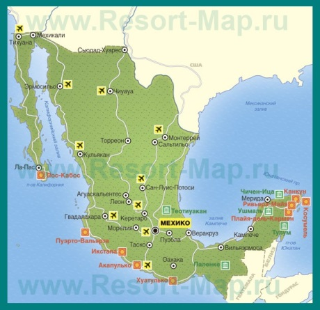 Курорты Мексики на карте