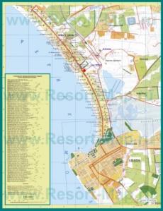 Карта побережья Анапы с санаториями и пансионатами