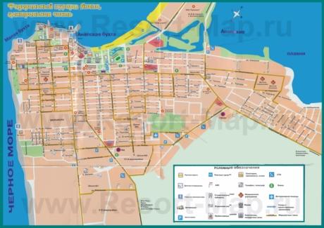 Туристическая карта Анапы с отелями