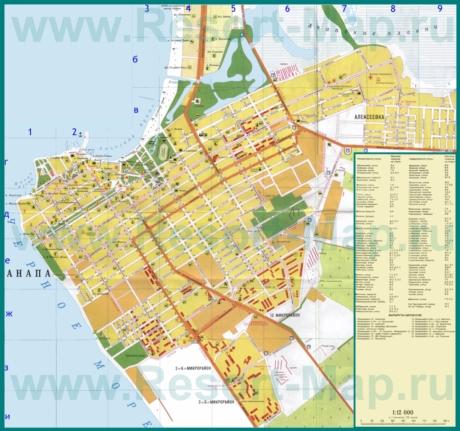 Туристическая карта города Анапа с пляжами и гостиницами