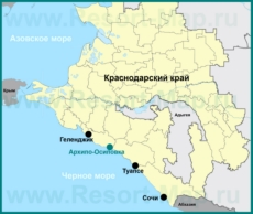Архипо-Осиповка на карте Краснодарского края