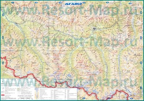 Карта окрестностей Архыза с достопримечательностями и магазинами