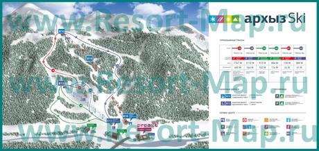 Подробная карта горнолыжного курорта Архыз с трассами