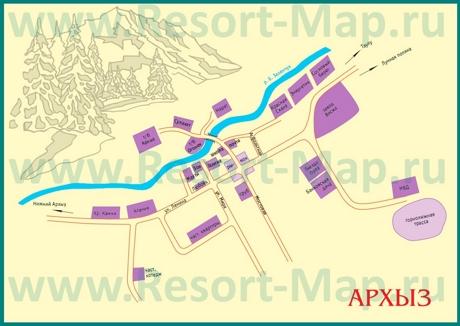 Туристическая карта Архыза с гостиницами