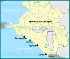 Бетта на карте Краснодарского края